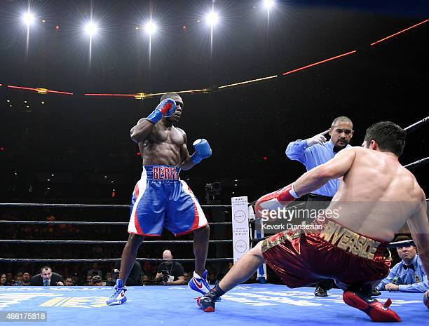 Andre Berto knocks down Josesito Lopez in the 6 round of the 12 round welterweight bout at Citizens Business Bank Arena March 13 2015 in Ontario...