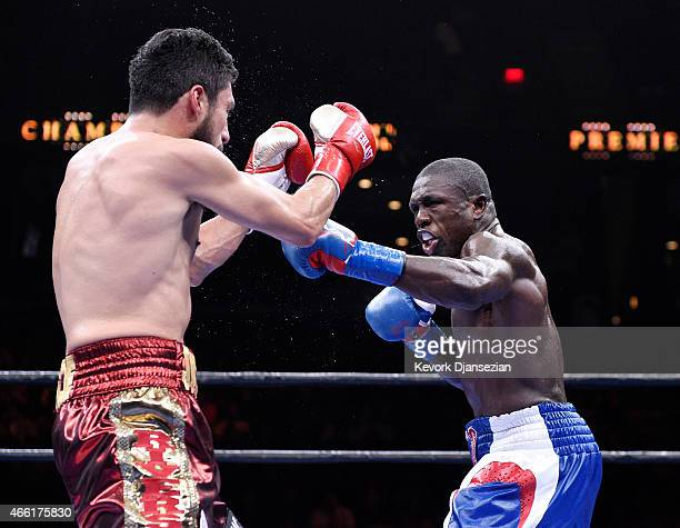 Andre Berto throws a punch against Josesito Lopez during the 12 round welterweight bout at Citizens Business Bank Arena March 13 2015 in Ontario...