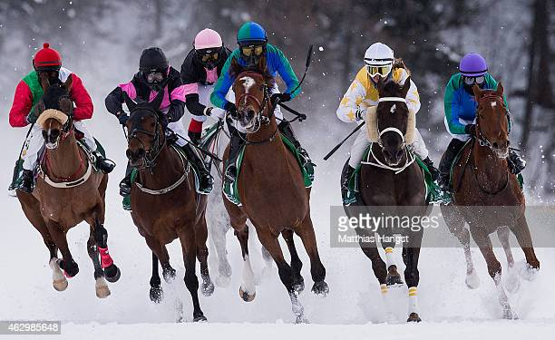 Andre Best riding Athlete de Sol leads the field during the HH Sheikh Zayed bin Sultan al Nahyan Listed Cup Flat Race of the White Turf St Moritz on...
