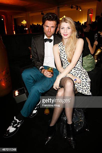 Andre Borchers and Jasmin Makese attend the Moet Chandon Grand Scores at Kaufhaus Jandorf on February 05 2014 in Berlin Germany