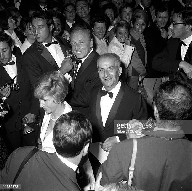 Andre Bourvil and Louis de Funes at Cannes Film Festival in 1966