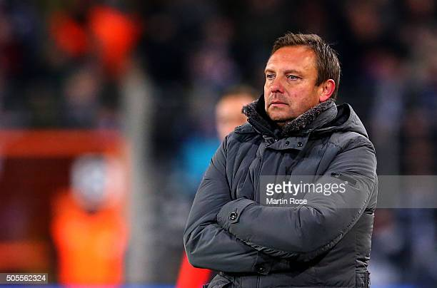 Andre Breitenreite head coach of Schalke reacts during the friendly match between Arminia Bielefeld and Schalke 04 at Schueco Arena on January 18...