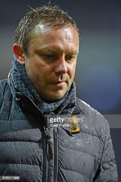 Andre Breitenreiter head cach of Hannover lks dejected during the Bundesliga match between SV Werder Bremen and Hannover 96 at Weserstadion on...