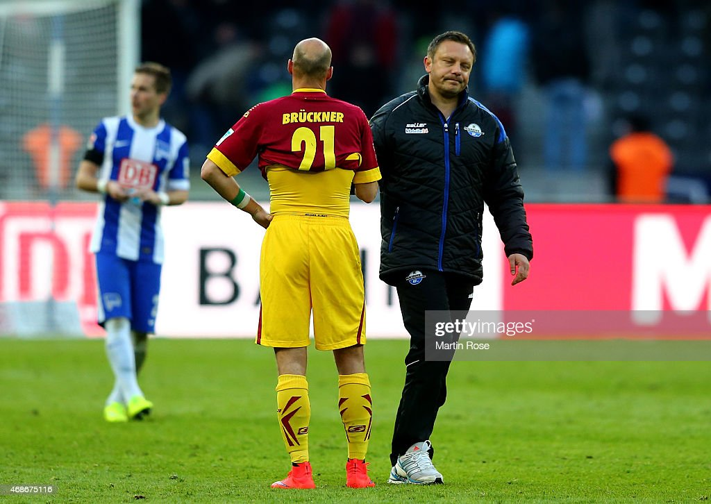 Andre Breitenreiter head coach of Paderborn looks dejected after the Bundesliga match between Hertha BSC and SC Paderborn 07 at Olympiastadion on...