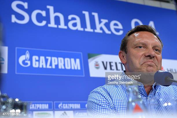 Andre Breitenreiter the newly appointed head coach of FC Schalke 04 attends a press conference at Veltins Arena on June 15 2015 in Gelsenkirchen...