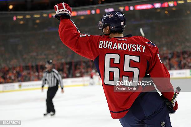 Andre Burakovsky of the Washington Capitals celebrates a goal against the Philadelphia Flyers during the first period at Wells Fargo Center on...