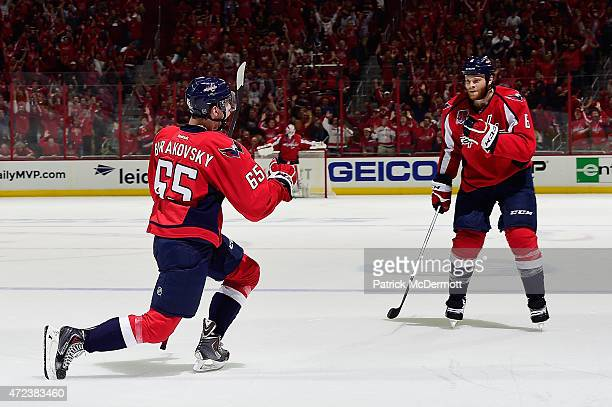 Andre Burakovsky of the Washington Capitals celebrates after scoring a goal against the New York Rangers during the second period in Game Four of the...