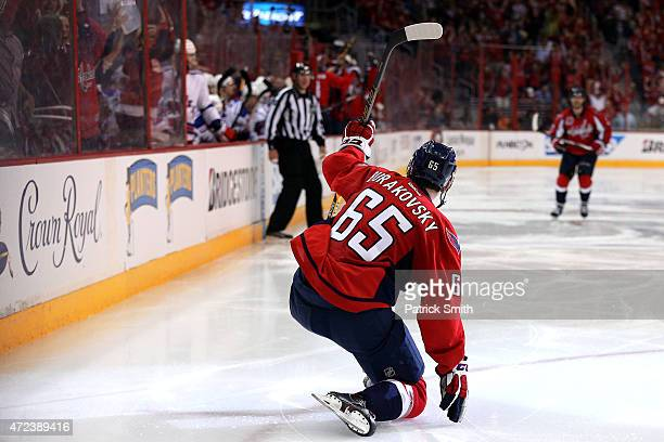 Andre Burakovsky of the Washington Capitals celebrates after scoring the gamewinning goal against the New York Rangers during the third period in...