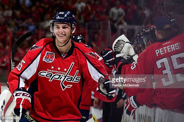 Andre Burakovsky of the Washington Capitals celebrates after scoring his second goal of the game against the New York Rangers during the third period...