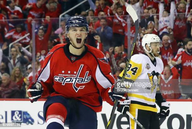 Andre Burakovsky of the Washington Capitals celebrates his goal at 1930 of the first period against the Pittsburgh Penguins in Game Five of the...