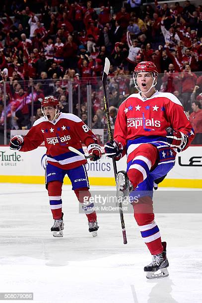 Andre Burakovsky of the Washington Capitals celebrates his third period goal during their game against the Florida Panthers at Verizon Center on...