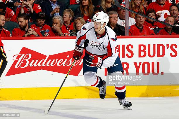 Andre Burakovsky of the Washington Capitals skates against the Calgary Flames during an NHL game at Scotiabank Saddledome on October 20 2015 in...