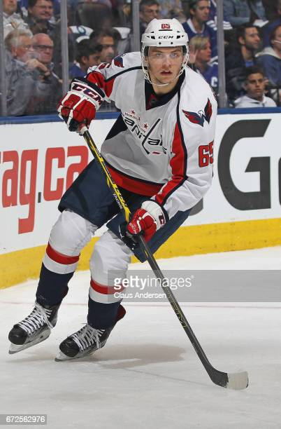 Andre Burakovsky of the Washington Capitals skates against the Toronto Maple Leafs in Game Six of the Eastern Conference Quarterfinals during the...
