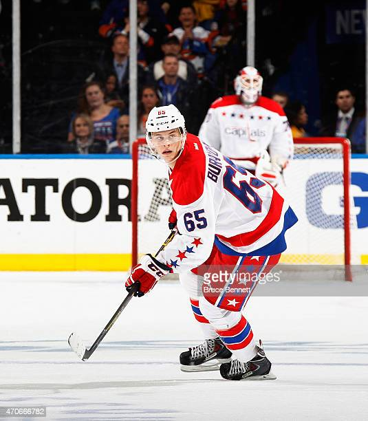 Andre Burakovsky of the Washington Capitals skates against the New York Islanders in Game Four of the Eastern Conference Quarterfinals during the...