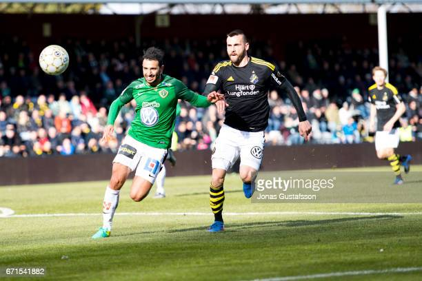 Andre Calisir of Jonkopings sodra competes for the ball during the Allsvenskan match between Jonkopings Sodra IF and AIK at Stadsparksvallen on April...