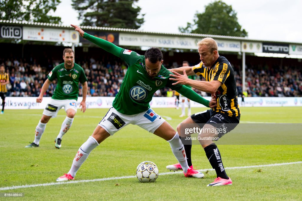 Andre Calisir of Jonkopings Sodra competes for the ball during the allsvenskan match between Jonkopings Sodra and BK Hacken at Stadsparksvallen on July 17, 2017 in Jonkoping, Sweden.