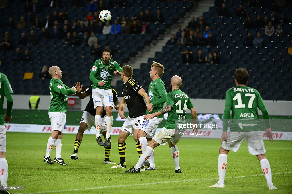 Andre Calisir of Jonkopings Sodra shoots a header during the allsvenskan match between AIK and Jonkkoping Sodra IF at Friends arena on May 2, 2016 in Solna, Sweden.