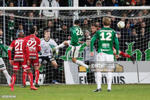 Andre Calisir of Jonkopings Sodra shoots a header during the Allsvenskan match between Jonkopings Sodra IF and Ostersunds FK at Stadsparksvallen on...