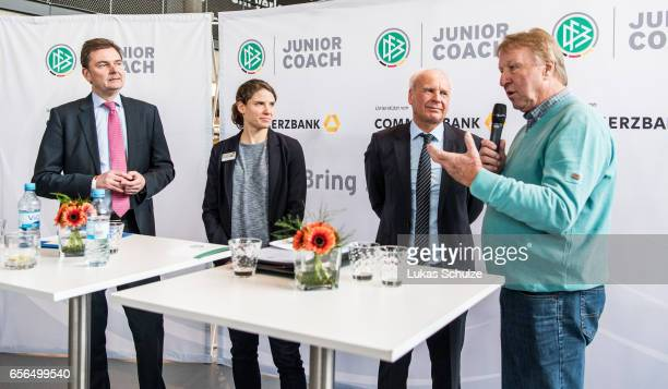 Andre Carls of Commerzbank soccer player Annike Krahn moderator Wolfgang Staab and former soccer coach Horst Hrubesch talk to the DFB Junior Coaches...