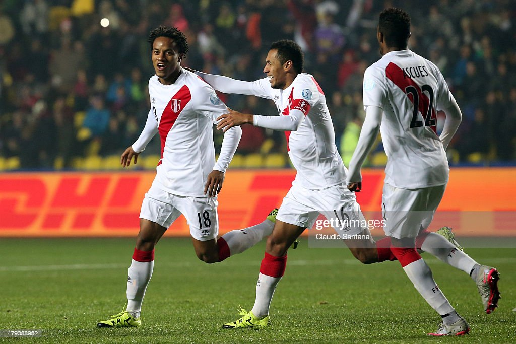 Andre Carrillo of Peru (L) celebrates after scoring the opening goal during the 2015 Copa America Chile Third Place Playoff match between Peru and Paraguay at Ester Roa Rebolledo Stadium on July 03, 2015 in Concepcion, Chile.