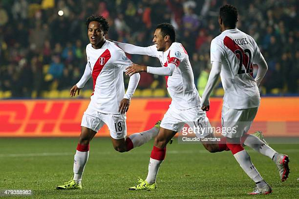 Andre Carrillo of Peru celebrates after scoring the opening goal during the 2015 Copa America Chile Third Place Playoff match between Peru and...