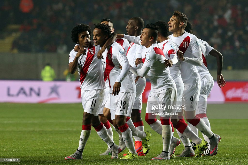 Andre Carrillo of Peru celebrates with teammates after scoring the opening goal during the 2015 Copa America Chile Third Place Playoff match between Peru and Paraguay at Ester Roa Rebolledo Stadium on July 03, 2015 in Concepcion, Chile.
