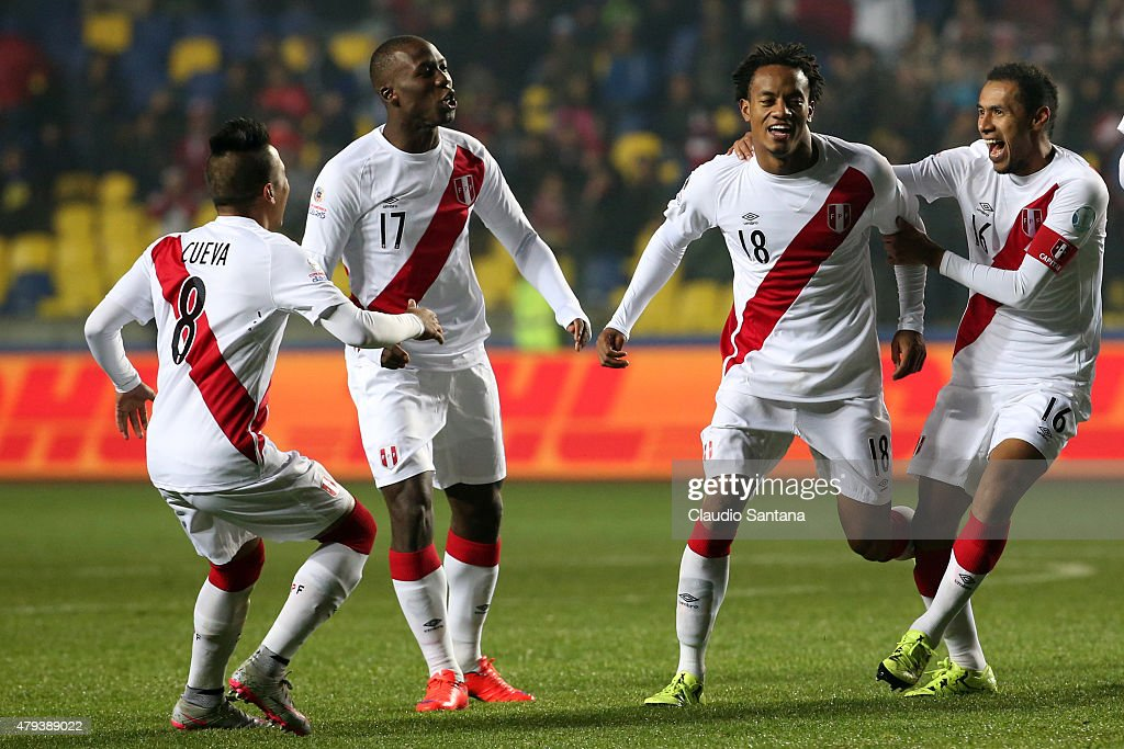 Andre Carrillo of Peru celebrates with teammates <a gi-track='captionPersonalityLinkClicked' href=/galleries/search?phrase=Christian+Cueva&family=editorial&specificpeople=7205432 ng-click='$event.stopPropagation()'>Christian Cueva</a>, Luis Advincula, and Carlos Lobaton after scoring the opening goal during the 2015 Copa America Chile Third Place Playoff match between Peru and Paraguay at Ester Roa Rebolledo Stadium on July 03, 2015 in Concepcion, Chile.