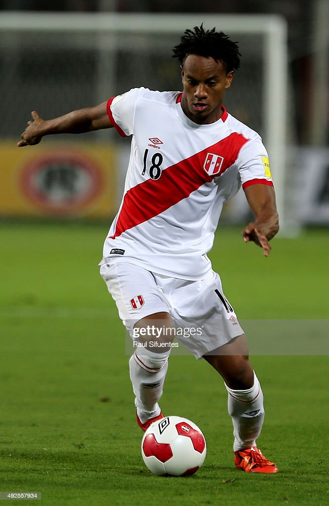 Andre Carrillo of Peru drives the ball during a match between Peru and Chile as part of FIFA 2018 World Cup Qualifier at Nacional Stadium on October 13, 2015 in Lima, Peru.