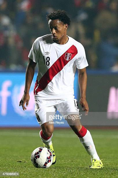 Andre Carrillo of Peru drives the ball during the 2015 Copa America Chile Third Place Playoff match between Peru and Paraguay at Ester Roa Rebolledo...