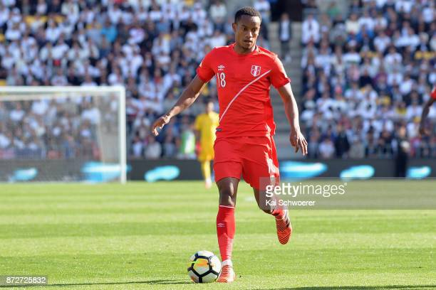 Andre Carrillo of Peru makes a break during the 2018 FIFA World Cup Qualifier match between the New Zealand All Whites and Peru at Westpac Stadium on...