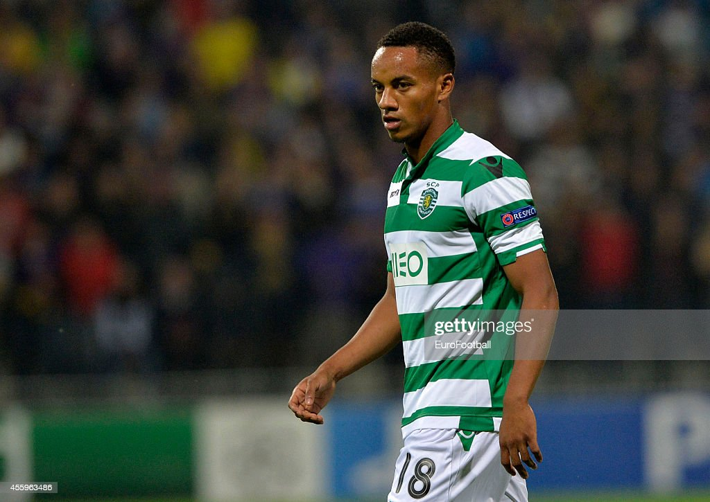 Andre Carrillo of Sporting Clube de Portugal in action during the UEFA Group G Champions League football match between NK Maribor and Sporting Lisbon at the Ljudski vrt Stadium on September 17, 2014 in Maribor, Slovenia.