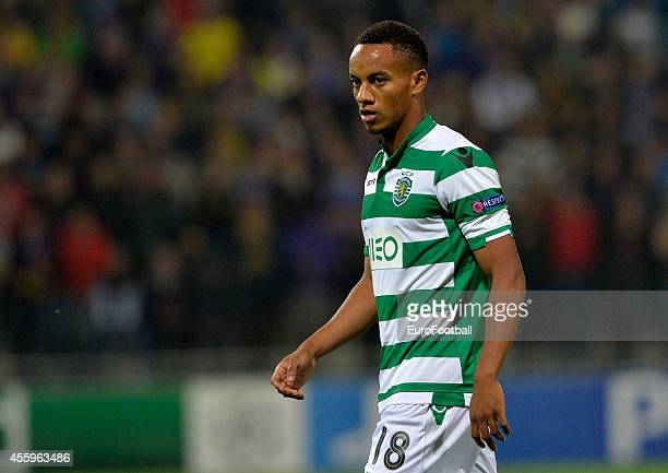 Andre Carrillo of Sporting Clube de Portugal in action during the UEFA Group G Champions League football match between NK Maribor and Sporting Lisbon...