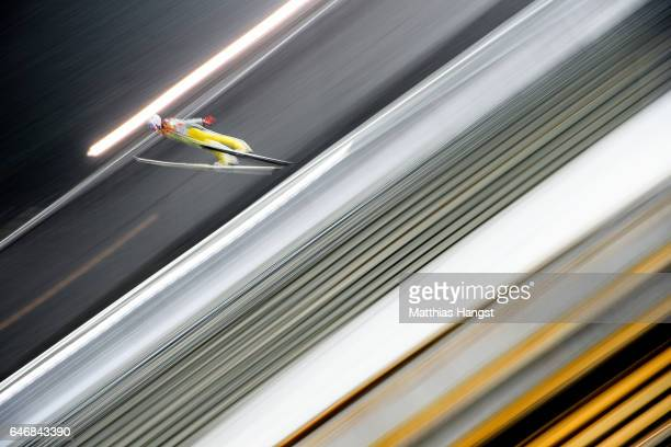 Andre Daniel Tande of Norway competes in the Men's Ski Jumping HS130 qualification round during the FIS Nordic World Ski Championships on March 1...