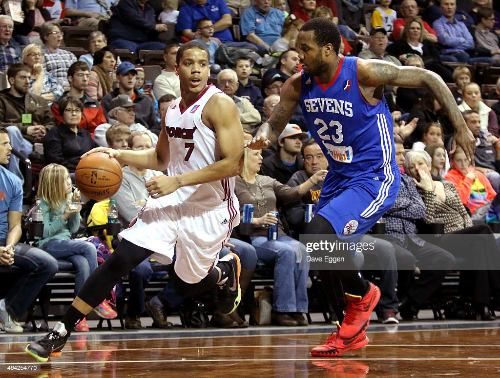 <a gi-track='captionPersonalityLinkClicked' href=/galleries/search?phrase=Andre+Dawkins&family=editorial&specificpeople=6543120 ng-click='$event.stopPropagation()'>Andre Dawkins</a> #7 from the Sioux Falls Skyforce drives to the basket around Victor Rudd #23 from the Delaware 87ers on February 20, 2015 at the Sanford Pentagon in Sioux Falls, South Dakota.