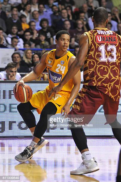 Andre Dawkins of Manital competes with Josh Owens of Umana during the LegaBsaket Serie A match between Reyer Umana Venezia and Auxilium Manital...