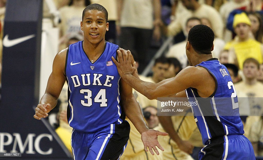 Andre Dawkins #34 of the Duke Blue Devils celebrates after hitting a three-pointer against the Pittsburgh Panthers at Petersen Events Center on January 27, 2014 in Pittsburgh, Pennsylvania.