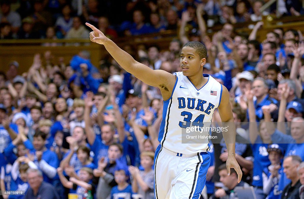 Andre Dawkins #34 of the Duke Blue Devils reacts after making a 3-point basket against the Eastern Michigan Eagles during their game at Cameron Indoor Stadium on December 28, 2013 in Durham, North Carolina. Duke won 82-59.