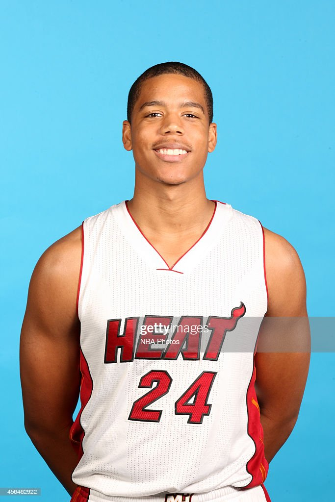 <a gi-track='captionPersonalityLinkClicked' href=/galleries/search?phrase=Andre+Dawkins&family=editorial&specificpeople=6543120 ng-click='$event.stopPropagation()'>Andre Dawkins</a> #24 of the Miami Heat poses for a photo during Media Day at the America Airlines Arena in Miami, Florida.