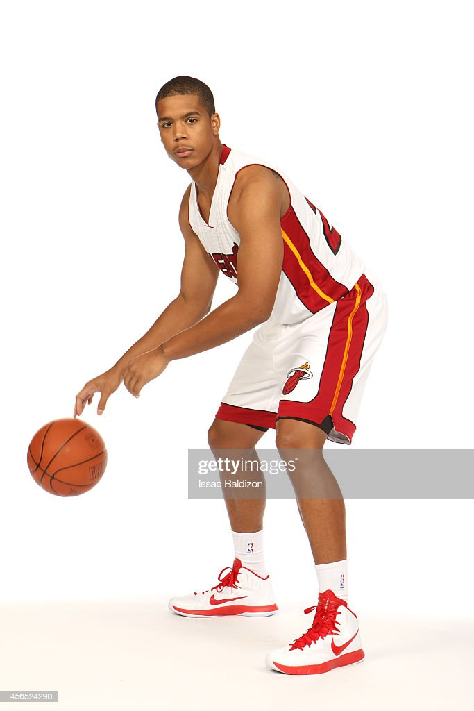 <a gi-track='captionPersonalityLinkClicked' href=/galleries/search?phrase=Andre+Dawkins&family=editorial&specificpeople=6543120 ng-click='$event.stopPropagation()'>Andre Dawkins</a> #24 of the Miami Heat poses for a portrait during 2014 Media Day at the America Airlines Arena in Miami, Florida.