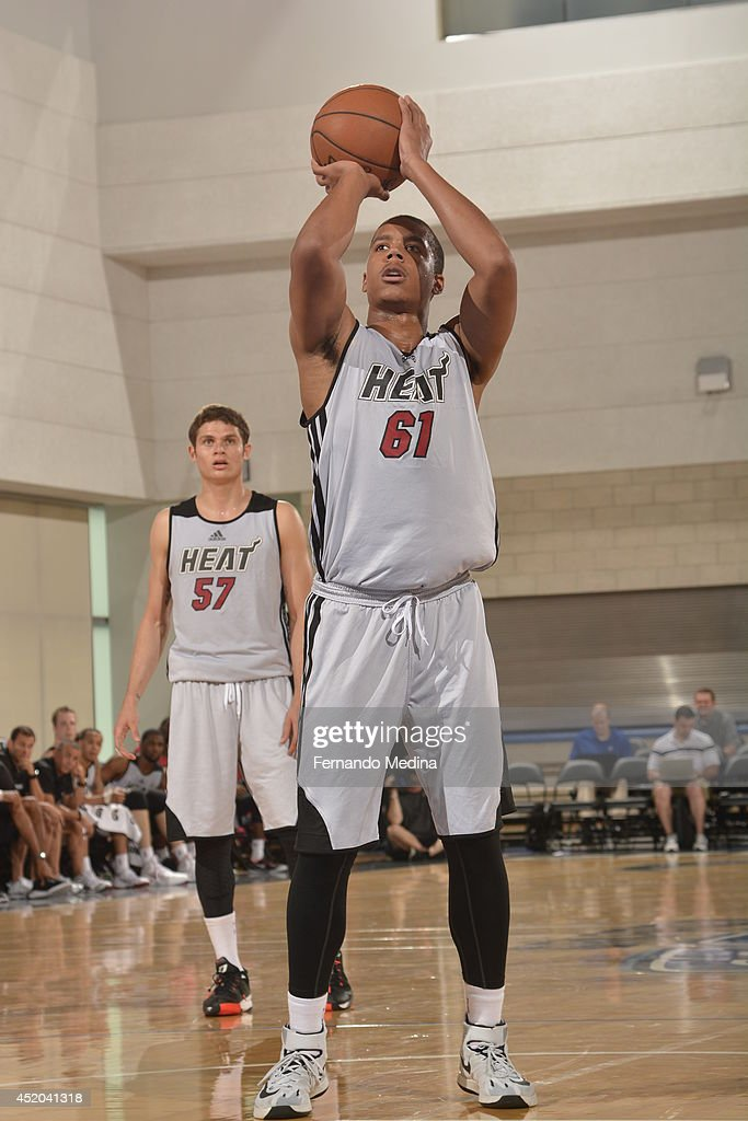 <a gi-track='captionPersonalityLinkClicked' href=/galleries/search?phrase=Andre+Dawkins&family=editorial&specificpeople=6543120 ng-click='$event.stopPropagation()'>Andre Dawkins</a> #61 of the Miami Heat shoots a free throw against the Oklahoma City Thunder during the game during the Samsung NBA Summer League 2014 on July 11, 2014 at Amway Center in Orlando, Florida.