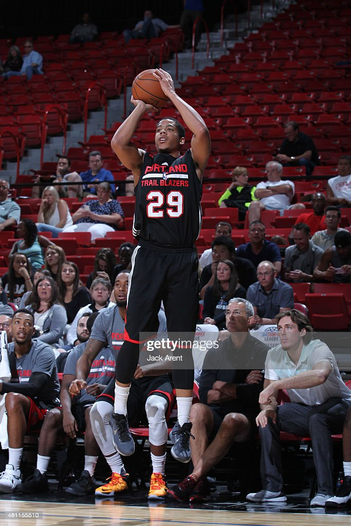 <a gi-track='captionPersonalityLinkClicked' href=/galleries/search?phrase=Andre+Dawkins&family=editorial&specificpeople=6543120 ng-click='$event.stopPropagation()'>Andre Dawkins</a> #29 of the Portland Trail Blazers shoots against the Toronto Raptors on July 17, 2015 at the Thomas & Mack Center in Las Vegas, Nevada.