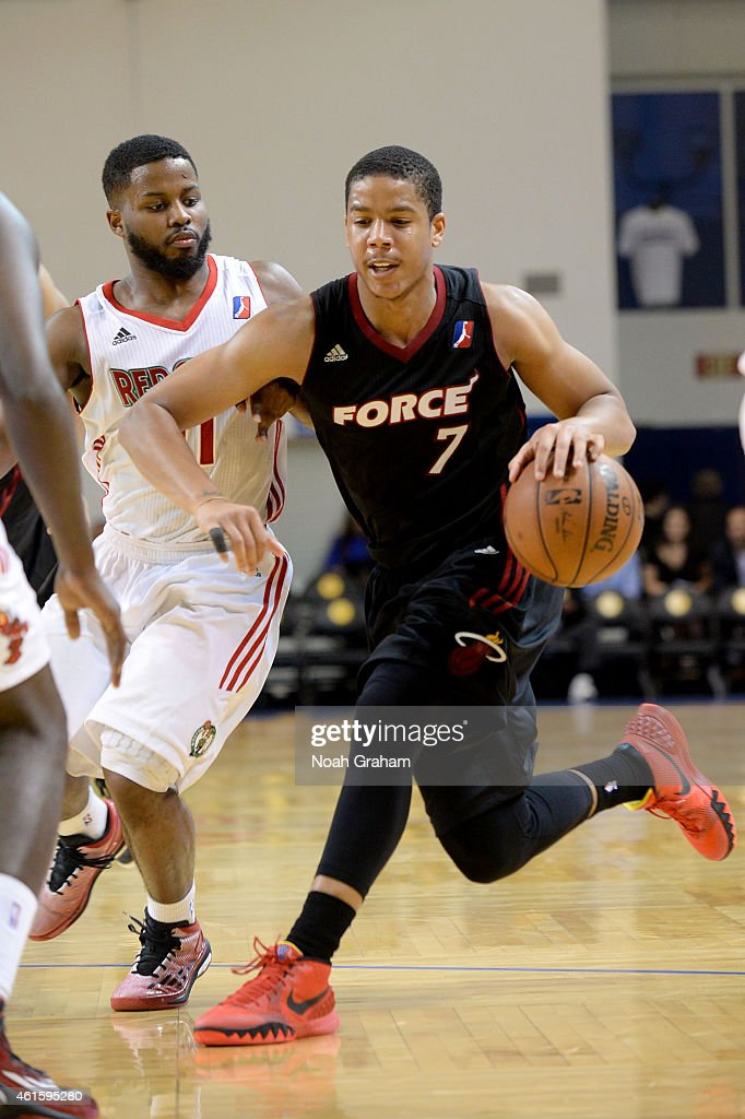 <a gi-track='captionPersonalityLinkClicked' href=/galleries/search?phrase=Andre+Dawkins&family=editorial&specificpeople=6543120 ng-click='$event.stopPropagation()'>Andre Dawkins</a> #7 of the Sioux Falls Skyforce drives to the hoop against the Maine Red Claws during the 2015 NBA D-League Showcase presented by Samsung at the Kaiser Permanente Arena on January 15, 2015 in Santa Cruz, California.