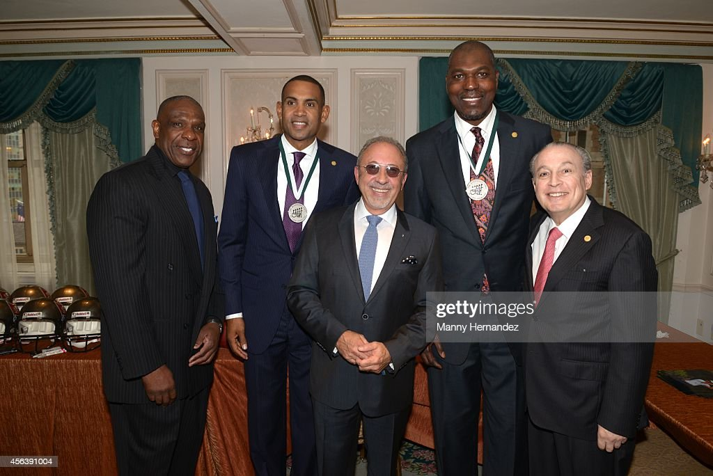 <a gi-track='captionPersonalityLinkClicked' href=/galleries/search?phrase=Andre+Dawson&family=editorial&specificpeople=206316 ng-click='$event.stopPropagation()'>Andre Dawson</a>, <a gi-track='captionPersonalityLinkClicked' href=/galleries/search?phrase=Grant+Hill+-+Basketball+Player&family=editorial&specificpeople=201658 ng-click='$event.stopPropagation()'>Grant Hill</a>, <a gi-track='captionPersonalityLinkClicked' href=/galleries/search?phrase=Emilio+Estefan&family=editorial&specificpeople=210517 ng-click='$event.stopPropagation()'>Emilio Estefan</a>, <a gi-track='captionPersonalityLinkClicked' href=/galleries/search?phrase=Hakeem+Olajuwon&family=editorial&specificpeople=202637 ng-click='$event.stopPropagation()'>Hakeem Olajuwon</a> and Dr. Barth Green attends the 29th Annual Great Sports Legends Dinner at The Waldorf=Astoria on September 29, 2014 in New York City.