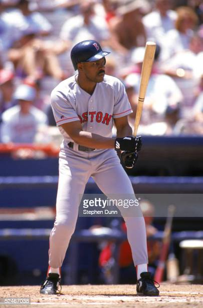 Andre Dawson of the Boston Red Sox stands ready at the plate during a game with the California Angels at Angel Stadium on July 7 1993 in Anaheim...
