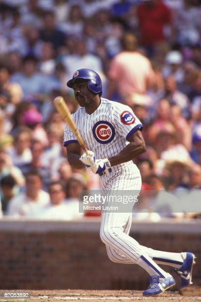 Andre Dawson of the Chicago Cubs bats during a baseball game against the Cincinnati Reds on May 1 1991 at Wrigley Field in Chicago Illinois