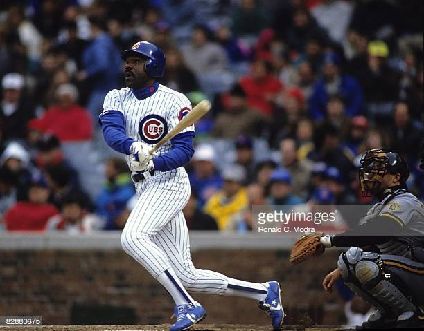 Andre Dawson of the Chicago Cubs bats during a MLB game against the Pittsburgh Pirates in Wrigley Field on April 12 1991 in Chicago Illinois