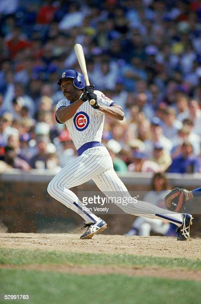 Andre Dawson of the Chicago Cubs bats during an MLB game at Wrigley Field in Chicago Illinois Andre Dawson played for the Chicago Cubs from 19871992