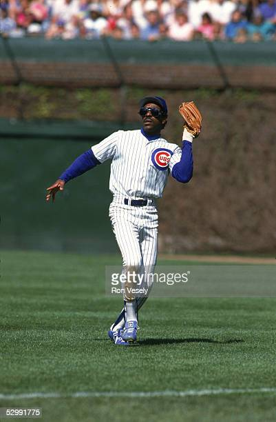 Andre Dawson of the Chicago Cubs fields during an MLB game at Wrigley Field in Chicago Illinois Andre Dawson played for the Chicago Cubs from 19871992