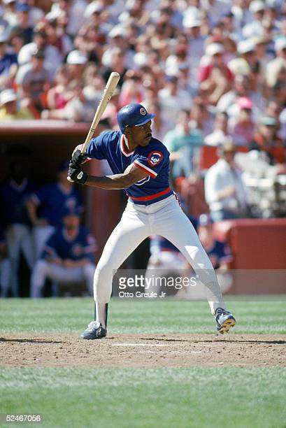 Andre Dawson of the Chicago Cubs stands ready at the plate during a game with the San Francisco Giants in 1989 at Candlestick Park in San Francisco...