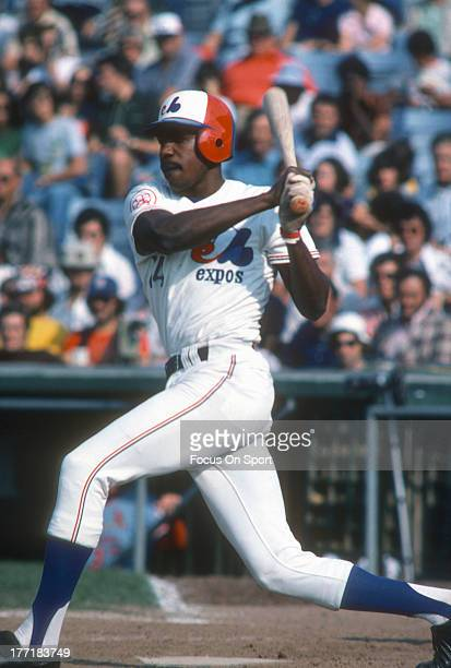 Andre Dawson of the Montreal Expos bats during an Major League Baseball spring training game circa 1976 at Jackie Robinson Stadium in Daytona Beach...